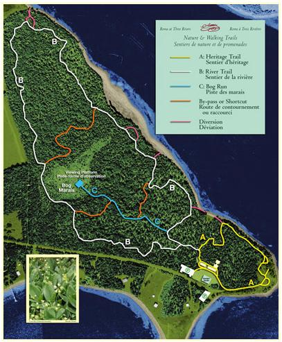 Map of the Nature Trails at the National Historic Site named for Jean Pierre Roma